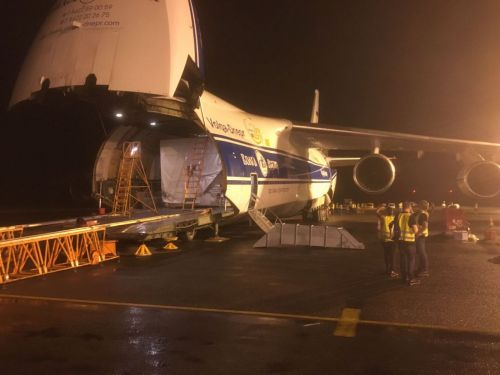 An Antonov transported the Satellite to French Guiana; © Hispasat